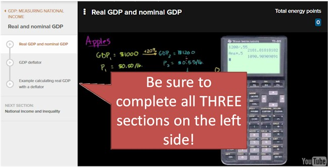 KHAN Academy: Real GDP and Nominal GDP, complete all THREE sections