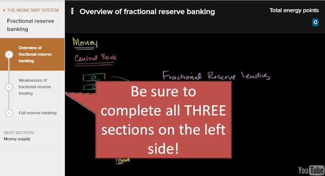 KHAN Academy Fractional Reserve Banking, complete all THREE sections on the left